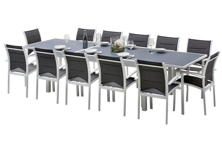 Salon de jardin avec table en aluminium et plateau en verre extensible 12 personnes