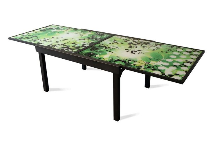 Table de Jardin Extensible Modulo Noir Imprimé Feuille 90/180x90x72cm