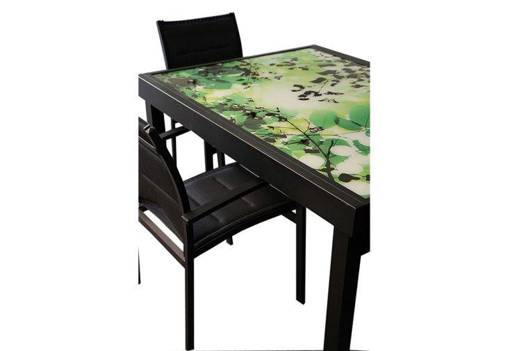 Salon de Jardin Modulo Noir Imprimé Feuille : 1 Table + 4 Chaises