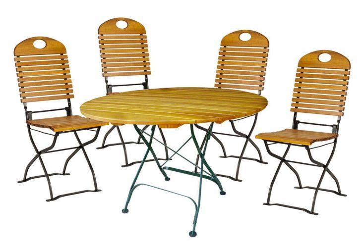 Salon de Jardin en Bois Pliable Bistro : Table Ronde + 4 Chaises ...