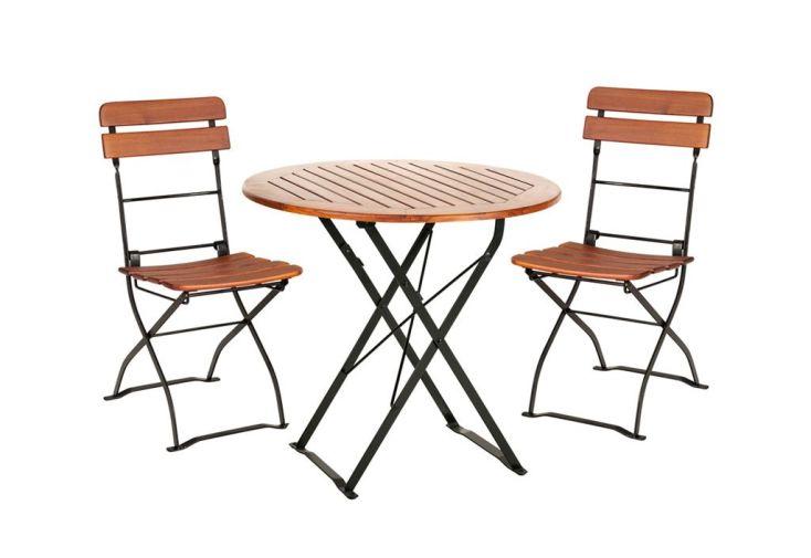 Salon de Jardin en Bois Pliable Café : Table Ronde + 2 Chaises - Habrita