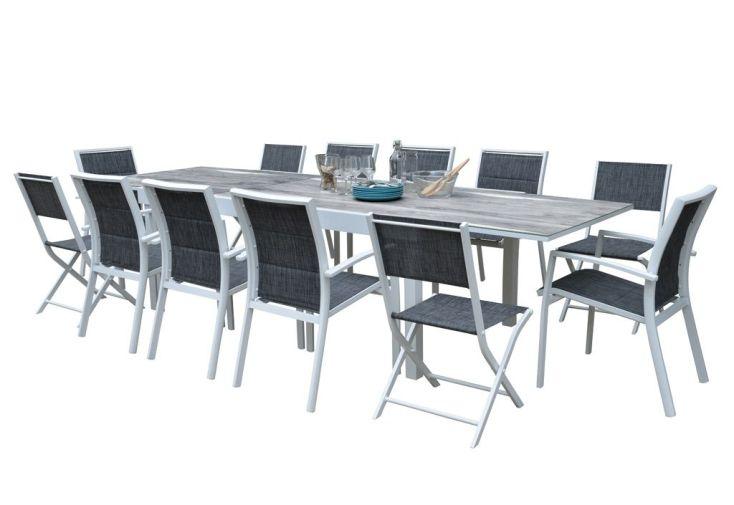 Salon de Jardin Aluminium : Table Extensible 200/320 cm + Fauteuils ...