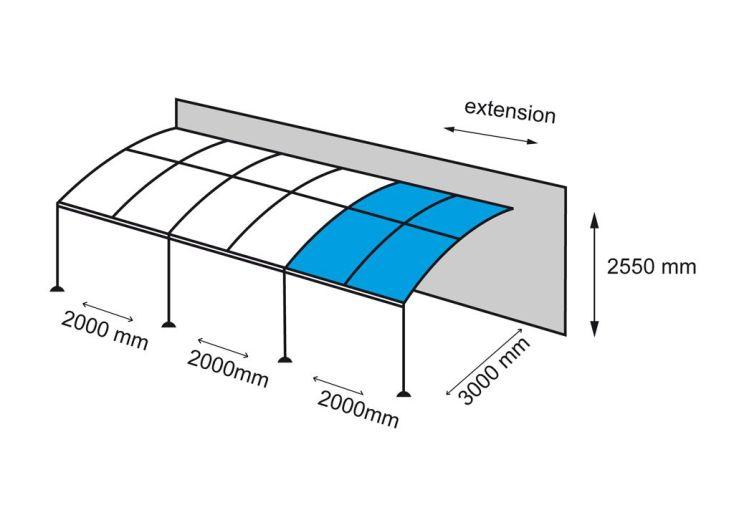 Extension 2x3m pour Tonnelle Adossée Illusion 4x3m