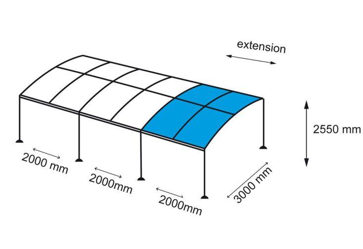 Extension 2x3m pour Tonnelle Autoportante Exhiition 4x3m