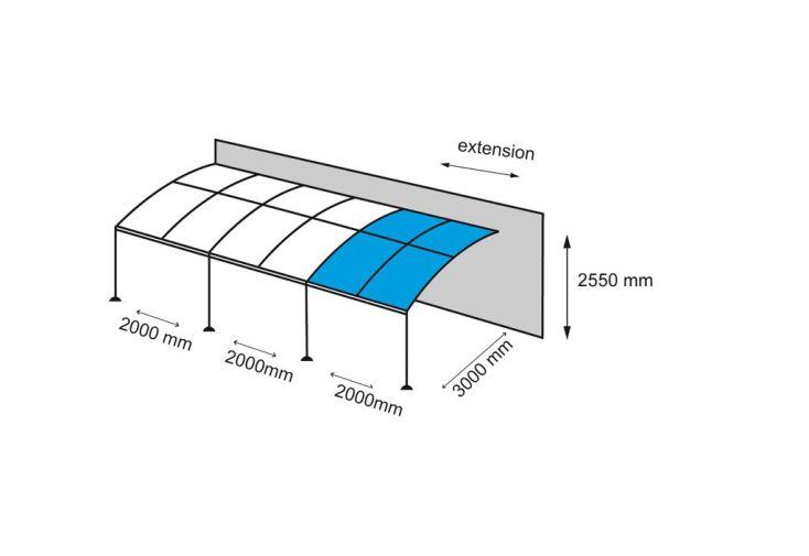 Extension 2x3m pour Tonnelle Adossée Exhibition 4x3m