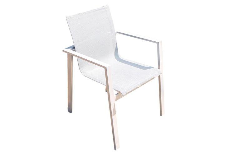 Fauteuil de Jardin Mykonos en Aluminium et Textilène Blanc