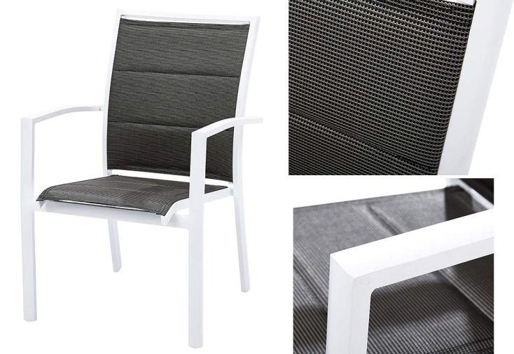 Salon de Jardin Modulo Stone Blanc : Table + 6 Fauteuils (135/270x105)