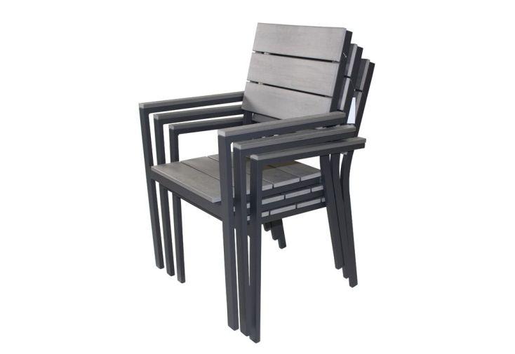Table Bois Composite Rectangulaire (160/220x100) + 6 Fauteuils