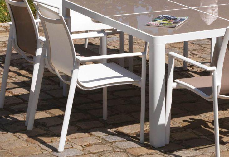 Fauteuil en Aluminium et Textilène Blanc Velasquez
