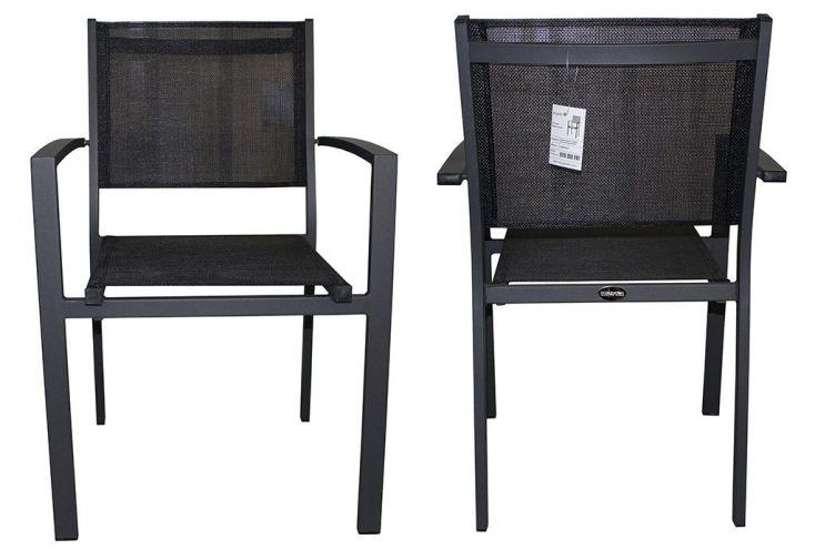 Fauteuil de Jardin London en Aluminium et Textilène Anthracite et Noir