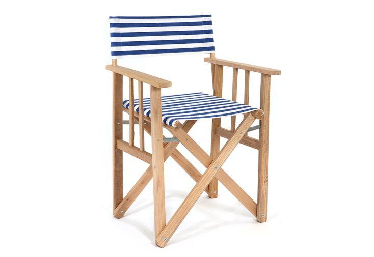 Chaise de jardin fauteuil de metteur en scène bleu et blanc