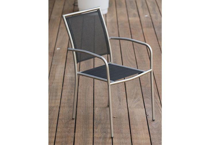 fauteuils de jardin avec accoudoirs en textilène gris et inox
