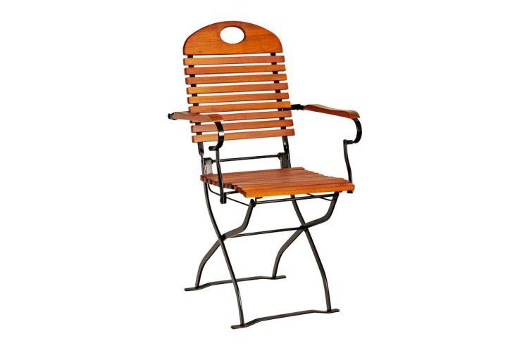 fauteuil de jardin pliant en bois d'acacia et acier