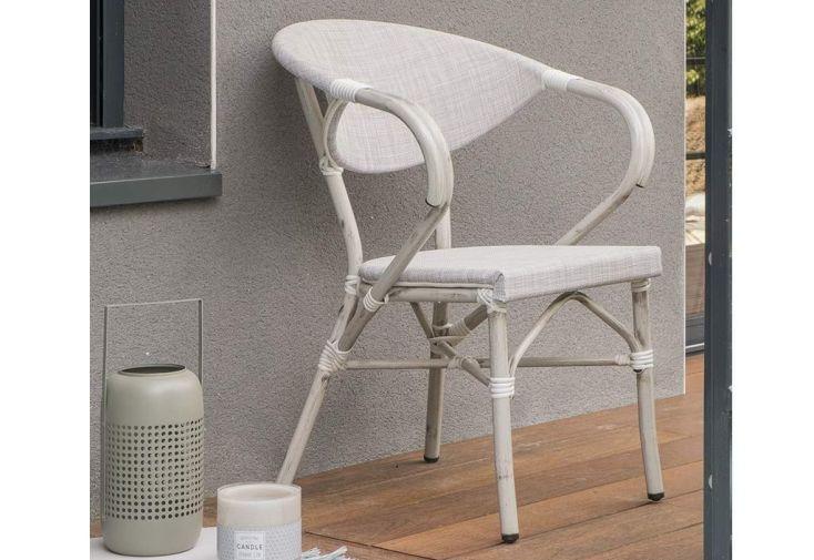 fauteuil de jardin en aluminium et textilène gris imitation naturelle