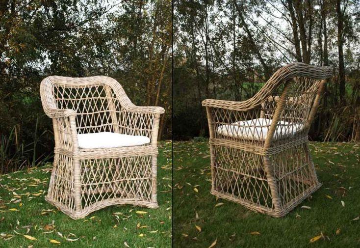 Fauteuil de jardin en rotin avec coussin kelly lot de 6 for Coussin de fauteuil de jardin