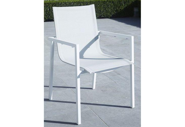 Salon de Jardin Aluminium et Verre Whitestar : Table + 6 Fauteuils