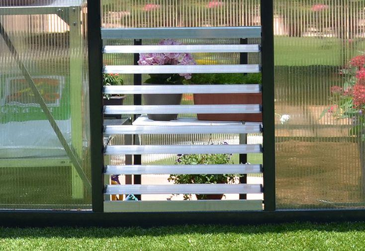 Fenêtre latérale à persiennes avec ventelles pour serre Rion Palram