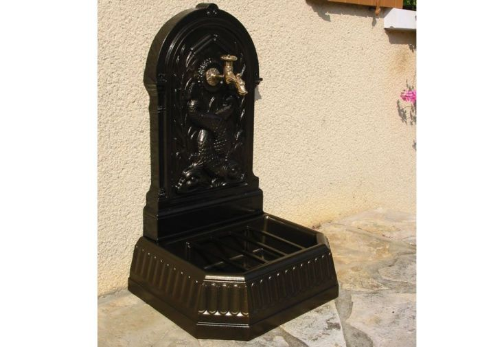 Fontaine de Jardin Murale en Fonte Dauphins + Robinet (pls coloris)