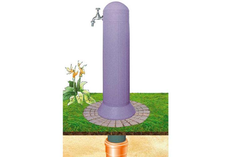 Colonne de jardin avec pompe et robinet rouge granite