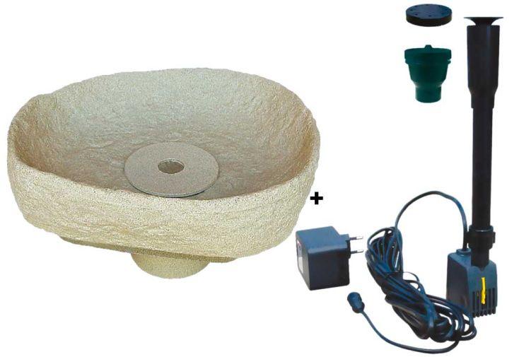 Kit cuve recuperation d'eau vasque fontaine Menhir sable