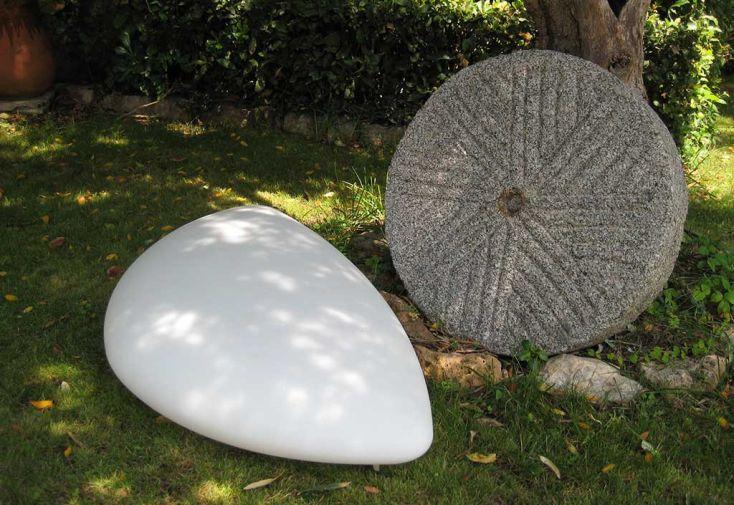 Galet Lumineux Blanc sur Secteur 60x40x20cm