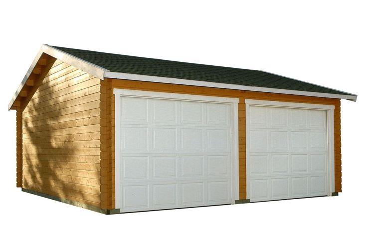 garage en bois de pins finlandais à 2 portes sectionnelles