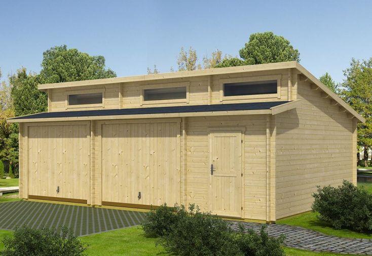 Garage en Bois d'Épicéa Brut avec Portes Basculantes Hawaii 39 m²