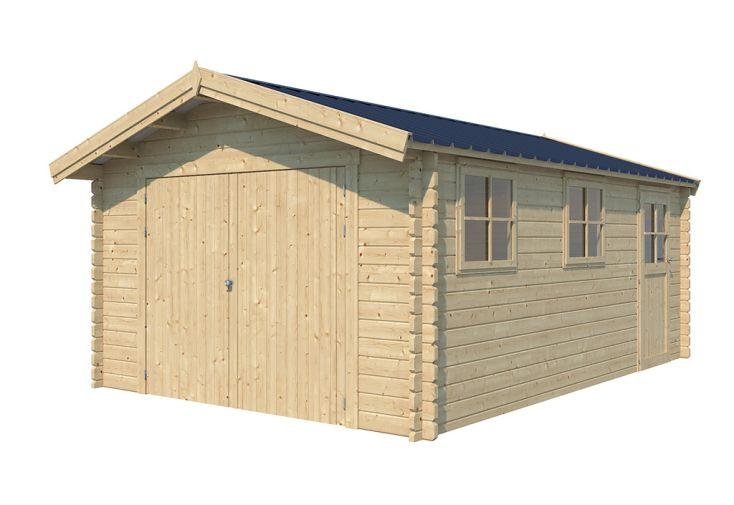 Garage en Bois d'Épicéa avec Toit en Shingle 21 m² Gardenas