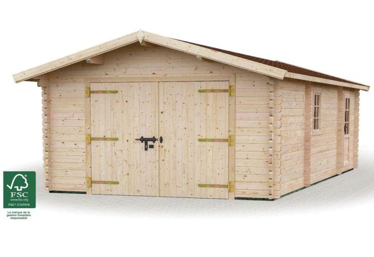 Garage + abri en Bois 44 mm