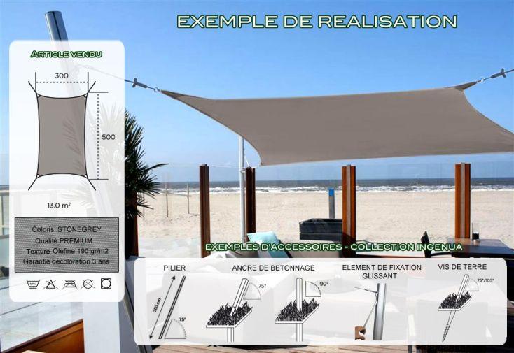 Voile d'Ombrage Ingenua 3x5 Premium