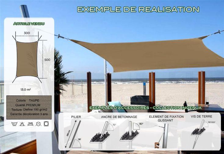 Voile d'Ombrage Ingenua 3x5 Premium Taupe