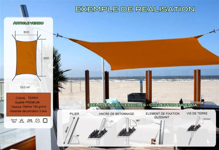 Voile d'Ombrage Ingenua 3x5 Premium Terra