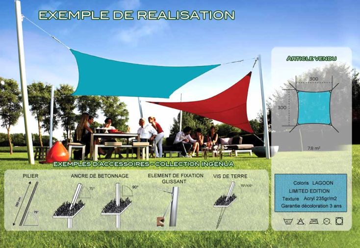 Voile d'Ombrage Ingenua 3x3 Limited Lagoon