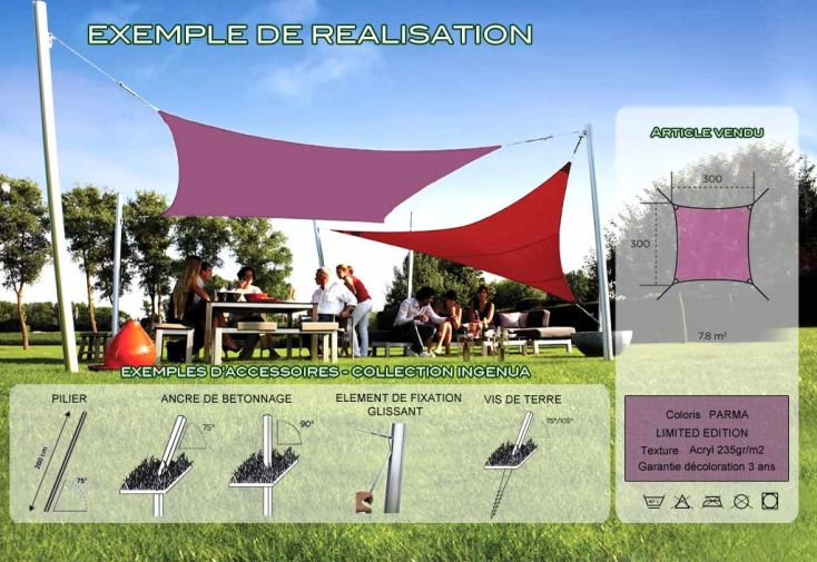 Voile d'Ombrage Ingenua 3x3 Limited Paris Red
