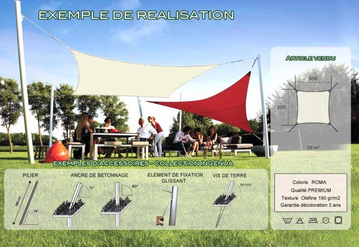 Voile d'Ombrage Ingenua 3x3 Premium Roma