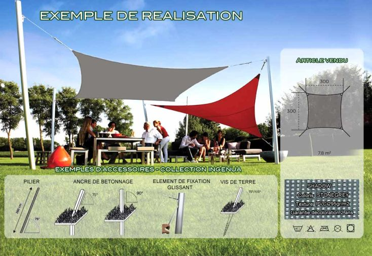Voile d'Ombrage Ingenua 3x3 Shadow Stonegrey