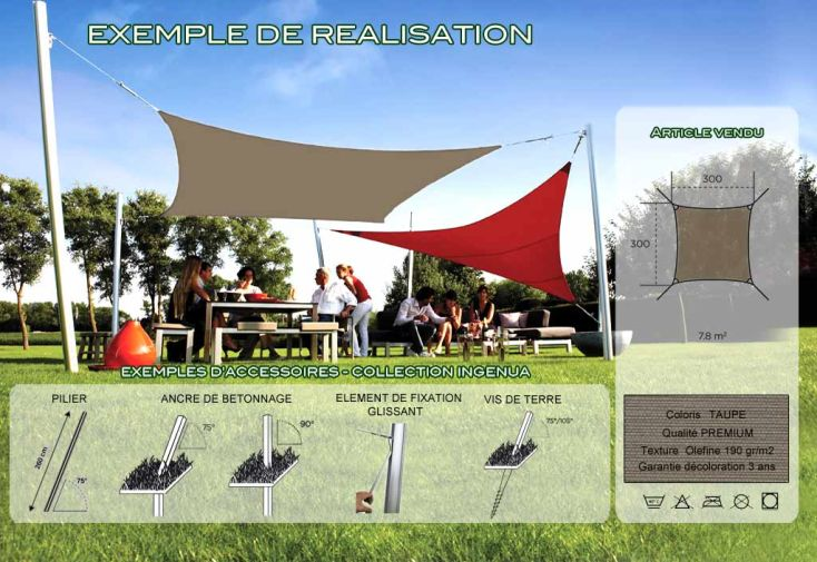 Voile d'Ombrage Ingenua 3x3 Premium Taupe