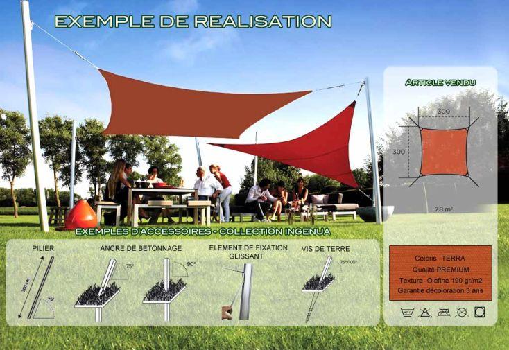Voile d'Ombrage Ingenua 3x3 Premium Terra