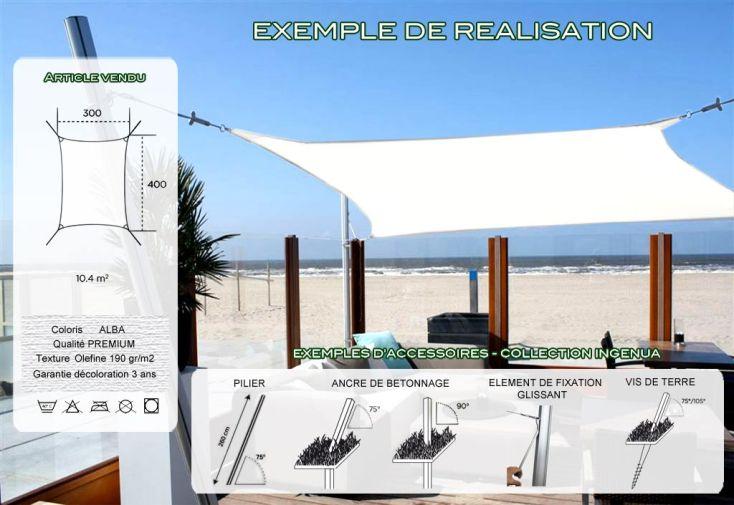 Voile d'Ombrage Ingenua 3x4 Premium Alba