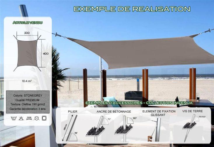 Voile d'Ombrage Ingenua 3x4 Premium Stonegrey