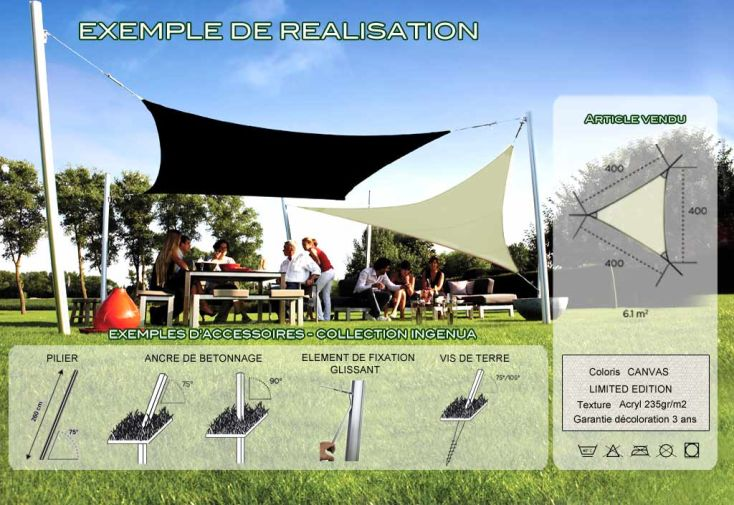 Voile d'Ombrage Ingenua 4x4x4 Limited