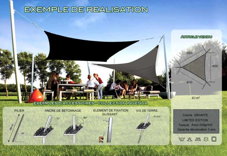 Voile d'Ombrage Ingenua 4x4x4 Limited Granite