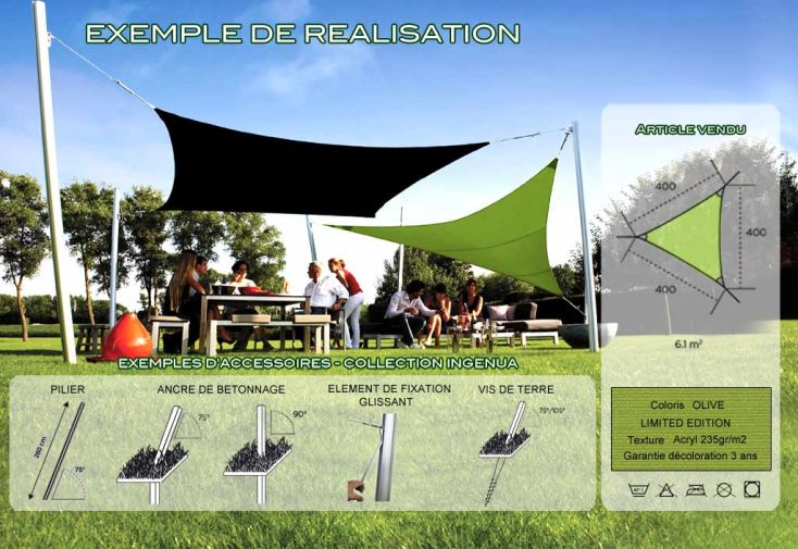 Voile d'Ombrage Ingenua 4x4x4 Limited Olive