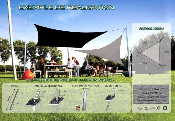 Voile d'Ombrage Ingenua 5x5x5 Premium Stonegrey
