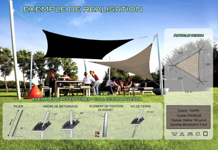 Voile d'Ombrage Ingenua 5x5x5 Premium Taupe