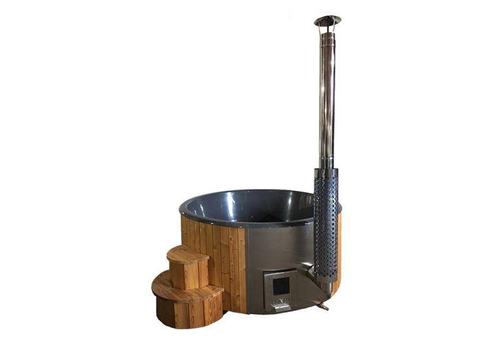 Spa d'extérieur en bois avec poêle intégré 6 places Delux 200 gris foncé