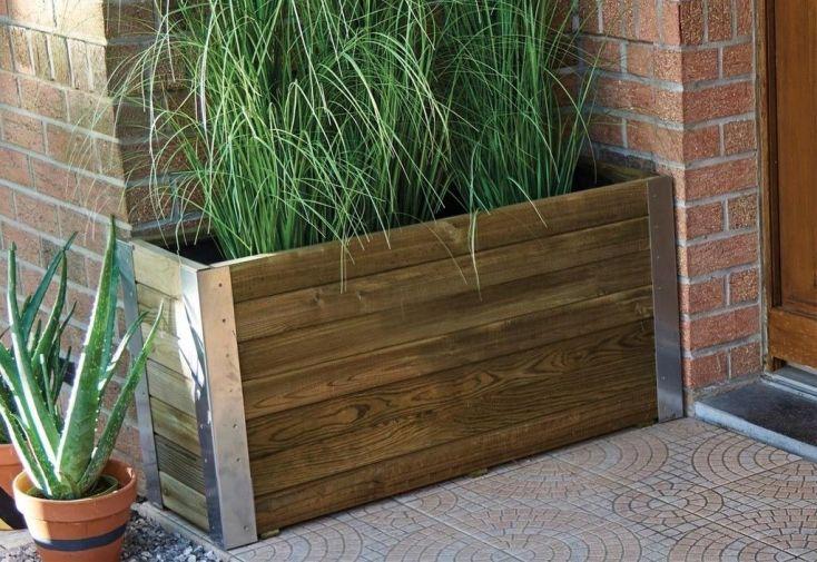 Jardiniere En Bois Autoclave Et Alu 100 X 30 Cm Bambou