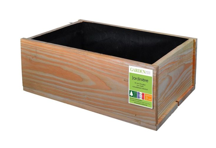 Jardini re en bois douglas rectangulaire 60 x 40 cm for Traitement bois douglas exterieur