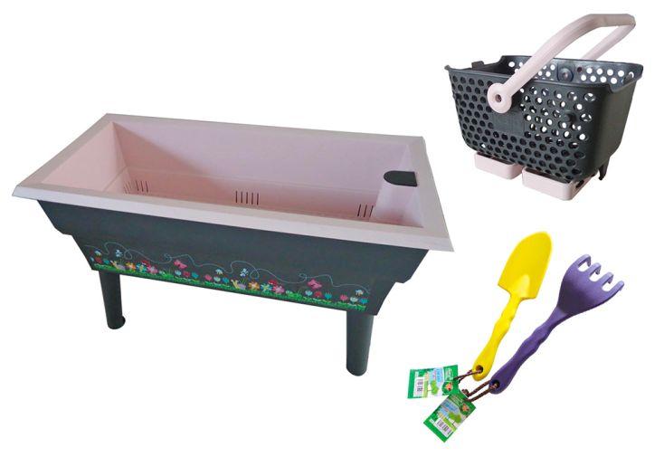 Jardinière Calipso pour enfant avec paniers et outils de jardin