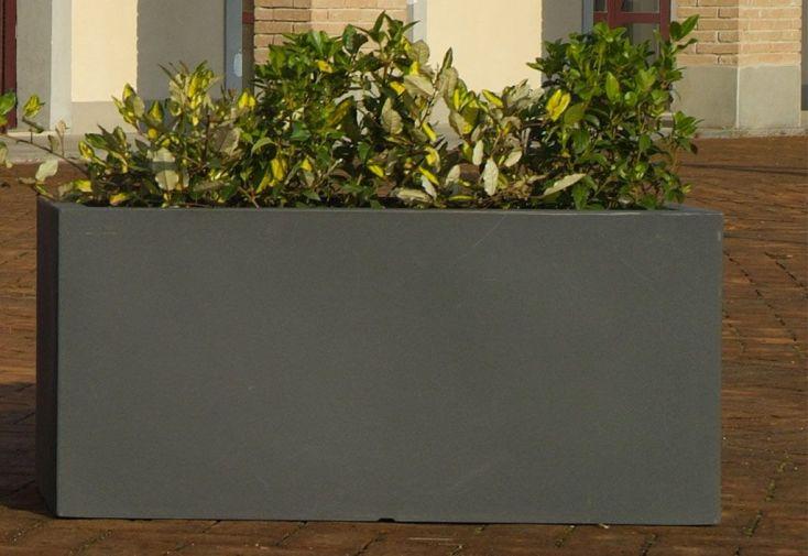 Jardinière rectangulaire en plastique rotomoulé double paroi gris